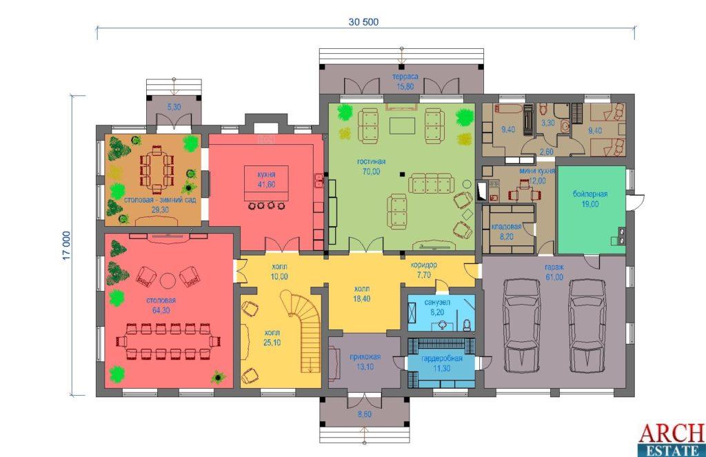 Проект загородного жилого дома E-1290