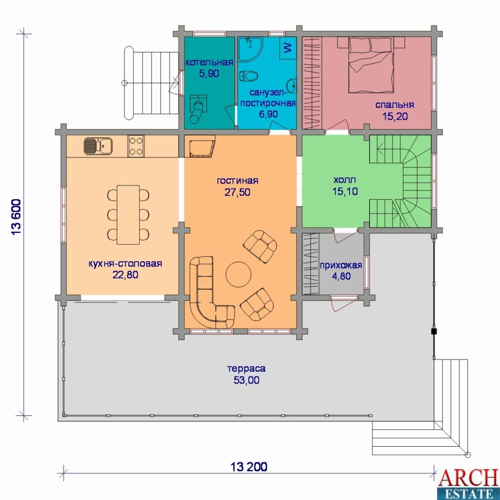 Проект деревянного дома W-242