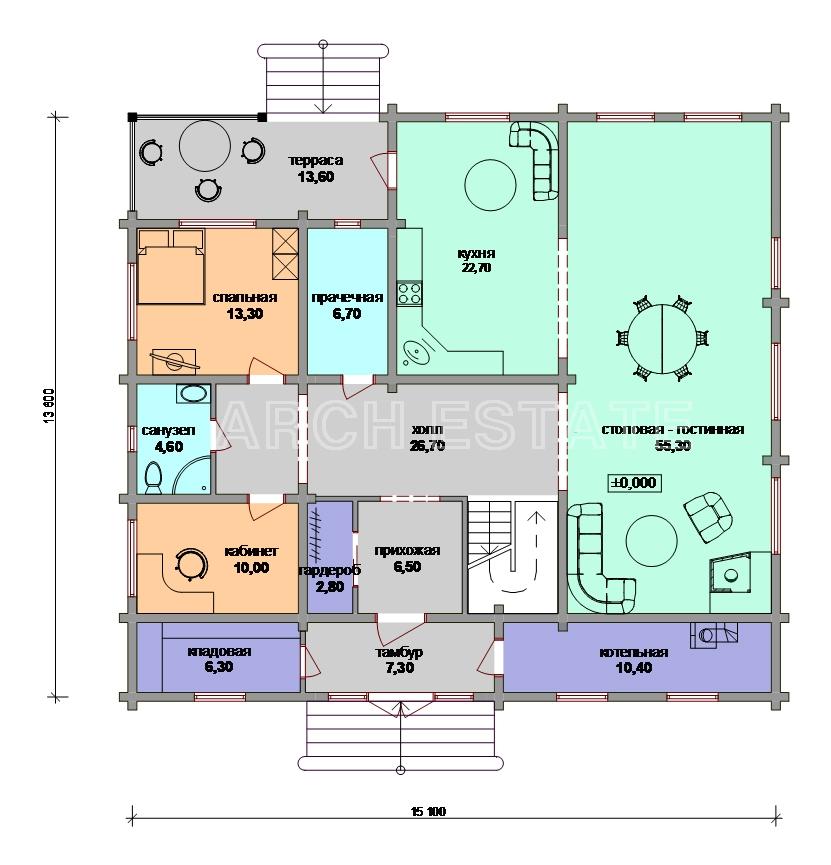 Проект деревянного дома W-297